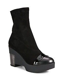 Robert Clergerie - Mixed Media Wedge Ankle Boots