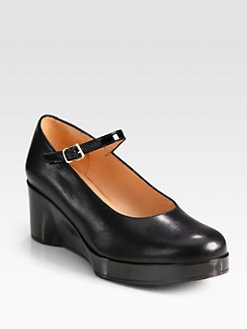 Robert Clergerie - Leather Mary Jane Wedge Pumps