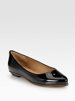 Givenchy - Patent Leather Zip-Detailed Ballet Flats