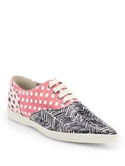 Marc Jacobs - Mixed Print Snakeskin Lace-Up Sneakers