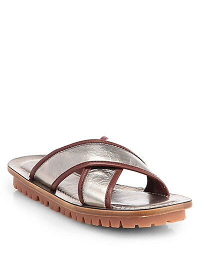 Metallic Leather Crisscross Sandals