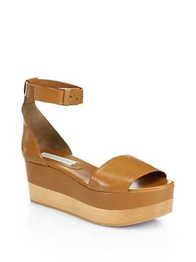 Faux Leather Ankle-Strap Platform Sandals