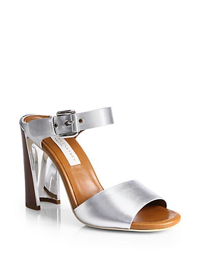 Faux Metallic Leather Sandals