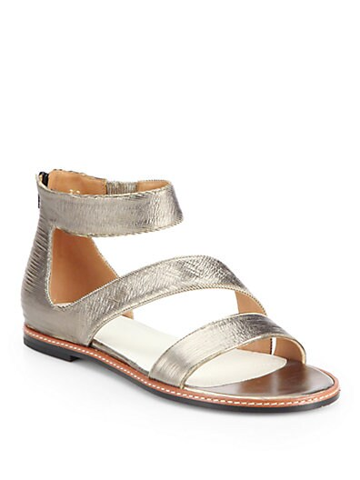 Brushed Metallic Leather Sandals