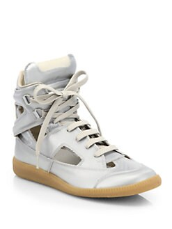 Maison Martin Margiela - Metallic Canvas Cutout Sneakers