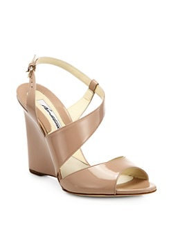 Brian Atwood - Anabel Patent Leather Wedge Sandals