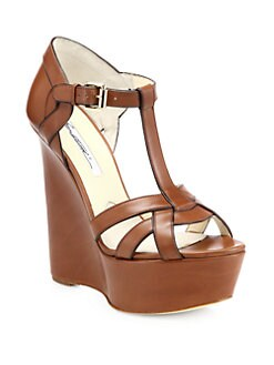 Brian Atwood - Sema Leather Wedge Sandals