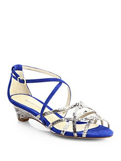 Alexandre Birman - Python & Suede Demi-Wedge Sandals