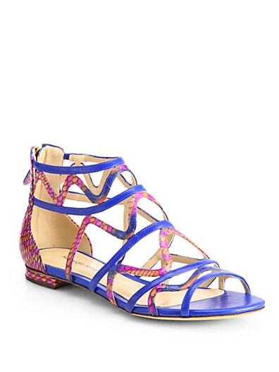 Strappy Python  Leather Gladiator Sandals