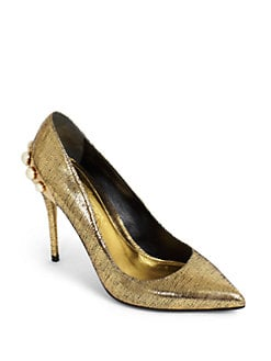 Alexander McQueen - Embellished Metallic Leather Pumps