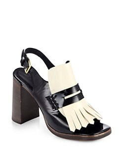 Marni - Bicolor Patent Leather Fringe Slingback Sandals