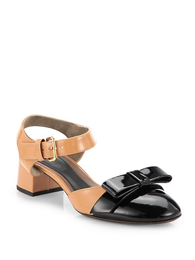 Bicolor Patent Leather Bow Sandals