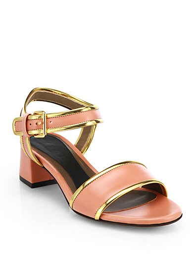 Metallic Piped Leather Sandals
