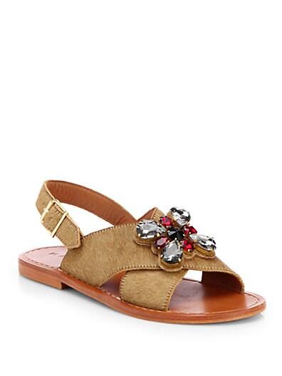 Jeweled Crisscross Calf Hair Sandals