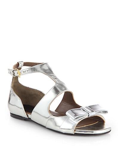 Metallic Leather Bow Sandals