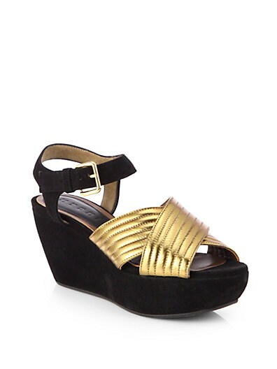 Crisscross Metallic Leather  Suede Platform Sandals