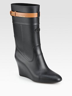Sergio Rossi - Rubber and Leather Wedge Rain Boots