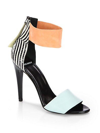 Leather  Striped Snakeskin Ankle-Strap Sandals