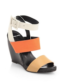 Pierre Hardy - Leather & Canvas Multi-Strap Wedge Sandals