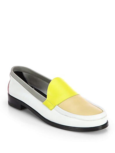 Colorblock Leather Moccasins