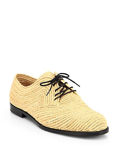 Woven Raffia Lace-Up Oxford Shoes