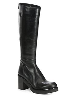Jil Sander Navy - Leather Knee-High Platform Boots