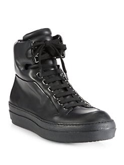 Jil Sander Navy - Leather High-Top Platform Sneakers