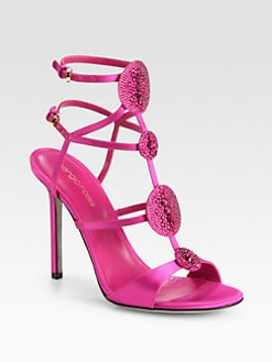 Sergio Rossi - Jeweled Satin Circle Sandals