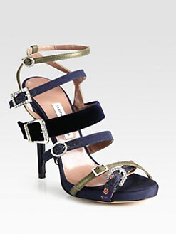 Tabitha Simmons - Karlie Mixed Media Buckle Sandals