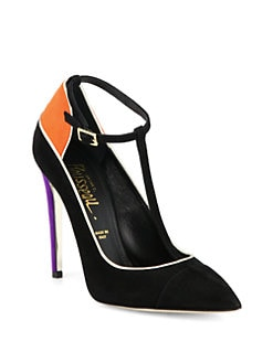 Jerome C. Rousseau - Dragonette Suede & Metallic Leather T-Strap Pumps
