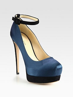 Alexandre Birman - Bicolor Satin & Suede Ankle Strap Pumps