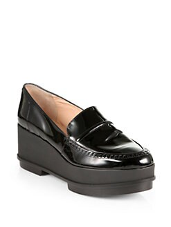 Robert Clergerie - Patent Leather Platform Wedge Loafers
