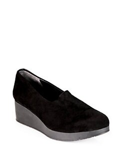 Robert Clergerie - Suede Slip-On Wedge Loafers