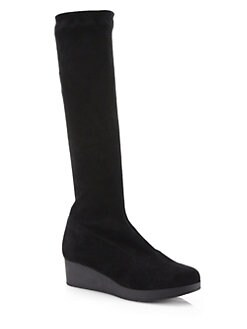 Robert Clergerie - Stretch Suede Platform Wedge Boots