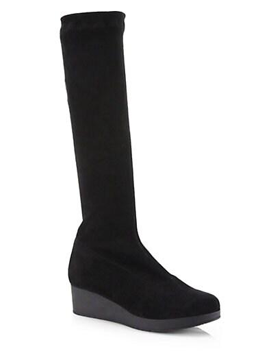 Stretch Suede Platform Wedge Boots