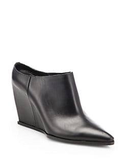 Costume National - Leather Point-Toe Wedge Mules