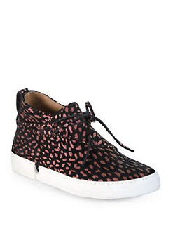 Edmundo Castillo - Willa Spotted Suede Lace-Up Sneakers
