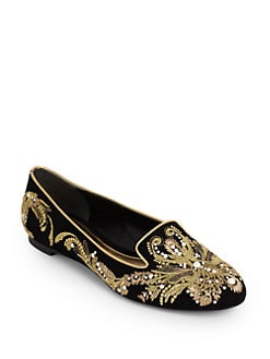 Alexander McQueen - Embroidered Velvet Smoking Slippers