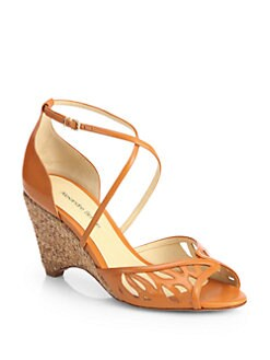 Alexandre Birman - Leather & Cork Wedge Sandals