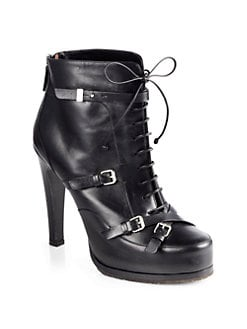 Tabitha Simmons - Hannah Leather Lace-Up Motorcycle Ankle Boots