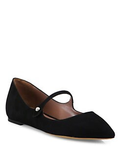 Tabitha Simmons - Hermione Velvet Point-Toe Mary Jane Flats