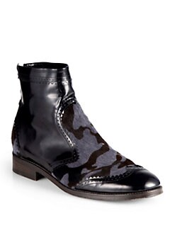 Christopher Kane - Camo Patent Leather & Calf Hair Ankle Boots