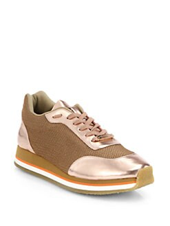 Stella McCartney - Faux Metallic Leather Platform Sneakers