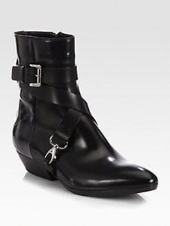 Costume National - Leather Crisscross Strap Boots