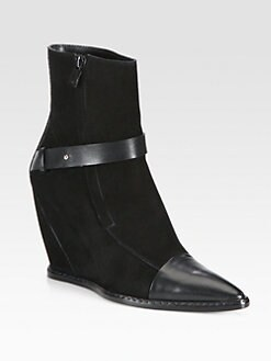 Costume National - Suede & Leather Wedge Mid-Calf Boots