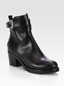Costume National - Leather Buckle Ankle Boots