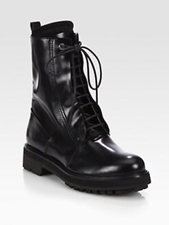 Costume National - Leather Lace-Up Combat Boots