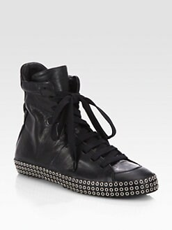Costume National - Leather Studded Lace-Up Sneakers