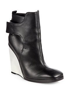 Costume National - Leather Plexi-Wedge Ankle Boots