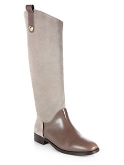 Pollini - Asymmetrical Leather & Suede Boots
